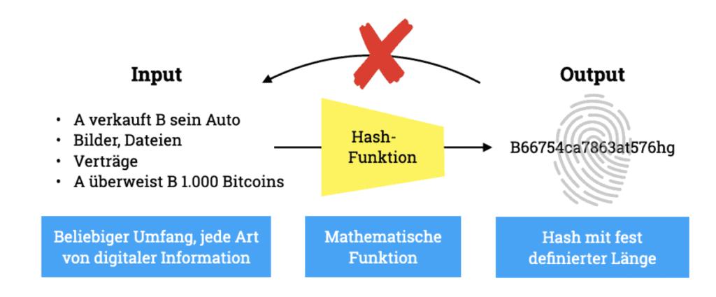 Das Zusammenspiel von Input, Hash-Funktion und dem erzeugten Hash als Output.