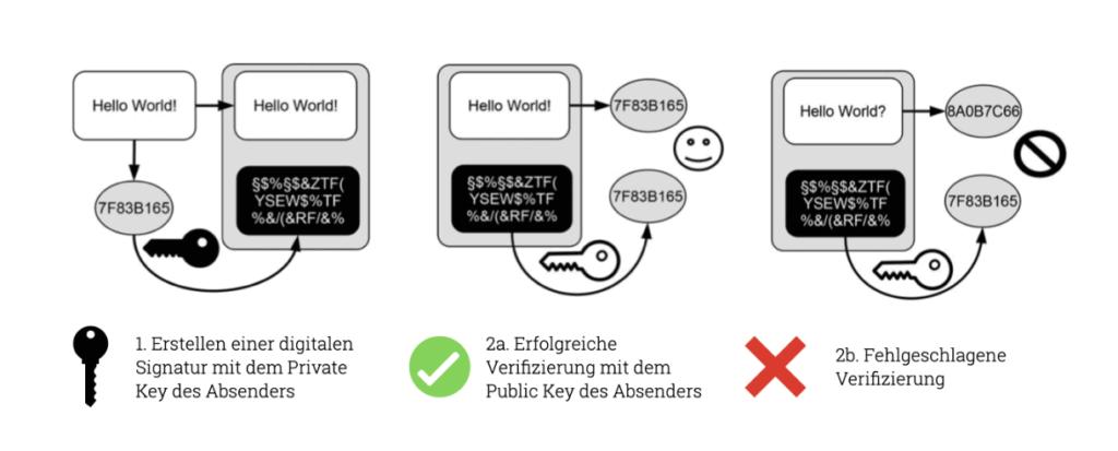 Digitale Signatur in der Blockchain: Erstellen der digitalen Signatur und erfolgreiche oder fehlgeschlagene Verifizierung.
