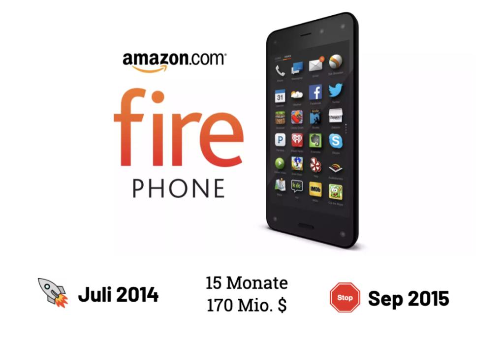 Das amazon fire Phone hatte eine Lebensdauer von 15 Monaten und kostete 170 Mio. USD